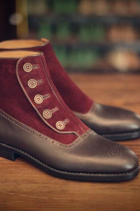 Handmade Men Two Tone Button Boot, Men Brown And Burgundy Ankle Boots, Men Boot
