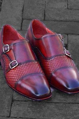 Double Monk Woven Leather Shoes, Handmade Burgundy Formal Cap Toe Dress Shoes