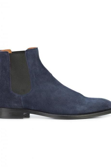 Handmade Custom Mens Blue Chelsea Suede Boots, Men Suede Fashion Formal Boots