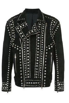Studded Suede Biker Jacket Black Stylish Premium Leather All Sizes Available