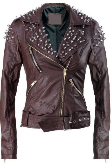 Women Brown Studded Jacket Premium Leather Customised All Sizes Hot Sale