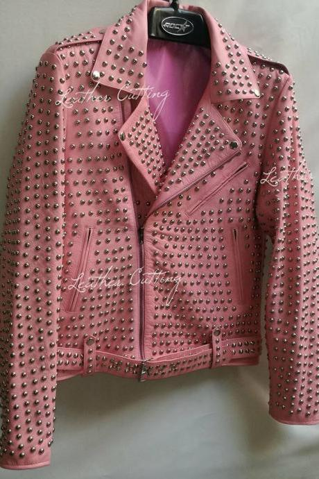 Full Silver Studded Leather Jacket New Woman Baby Pink Color All sizes