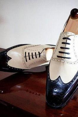 Handmade Men Oxford Wing Tip Shoes, White Black Leather Formal Tuxedo Shoes