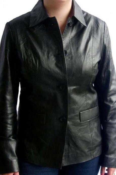 New Handmade women black leather Jacket, women Stylish biker Leather Jacket, wom