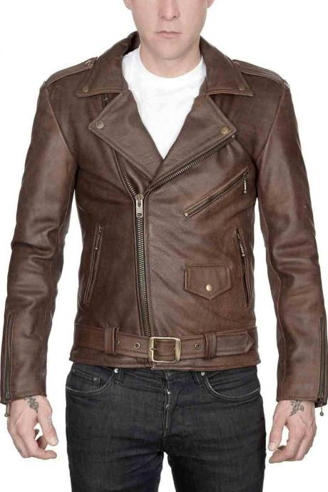 New Men Slimfit Brown Leather Jacket Fashion New Designer Leather Jacket