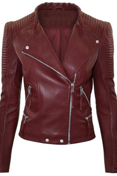 New Women Moto Original Burgundy Leather Jacket, Stylish Zipper Fashion Biker Ja