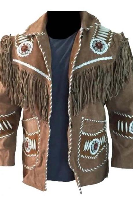 Mens Western Suede Leather Wear Cowboy Tan Fringe Native American Coat Jacket