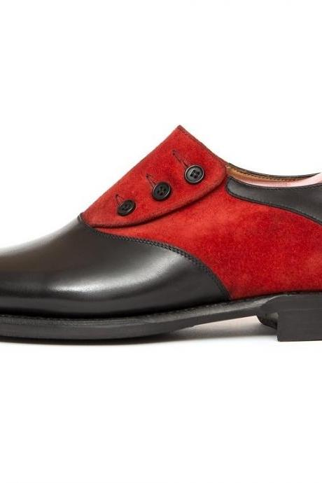 New Handmade Men Two Tone Formal Button Shoes, Men Black And Red Formal Shoes