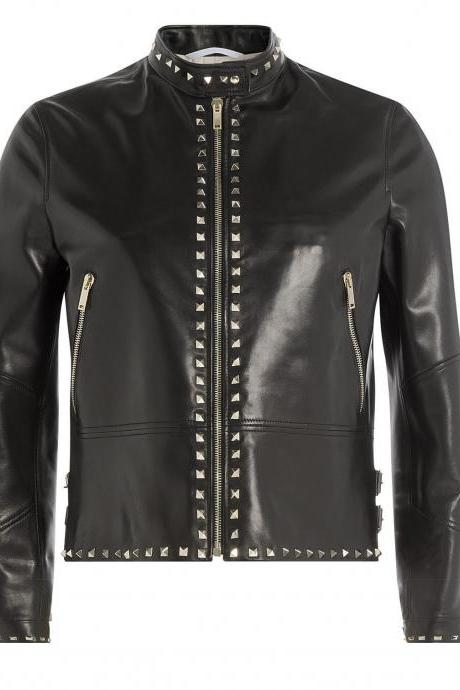 Women Rock Punk Silver Studded leather Jacket,Women Fashion leather jacket