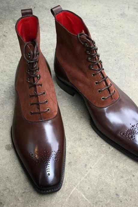 Handmade Ankle High Brogue Boots, Casual Brown Leather Boots, Men Two Tone Boots