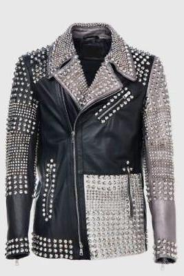 Mens Philipp Plein Multicolor Full Studded Leather jacket (BestSale)