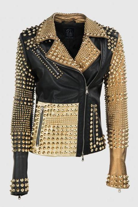 Woman Philipp Plein Multicolor Full Golden Studded Leather jacket (BestSale)