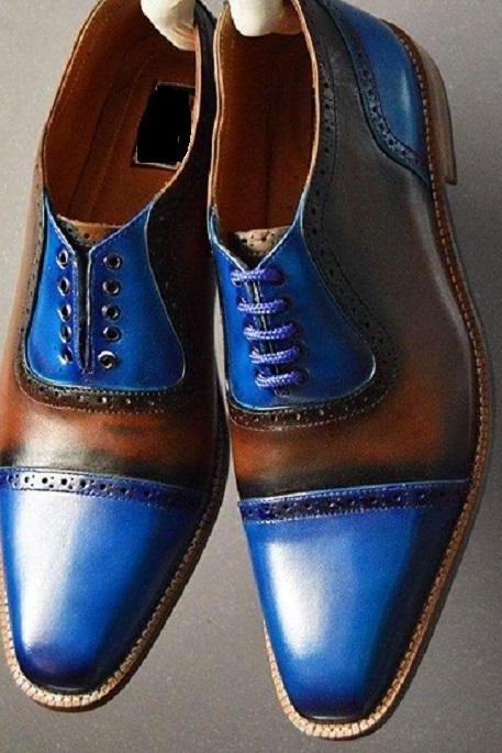 New Handmade Cap Toe Oxford Shoes , Men Leather Dress Formal Fashion Trendy Shoe