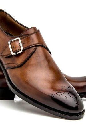 New Handmade Monk Strap Two Tone Shoes, Men Leather Trendy Single Strap Shoes