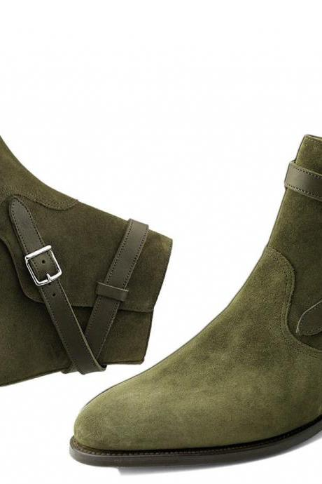 Handmade Men Olive Green Jodhpurs Ankle Suede Boots, Men Suede Leather Boot