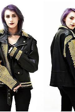 WOMEN BLACK FULL GOLDEN STUDDED LEATHER BIKER JACKET