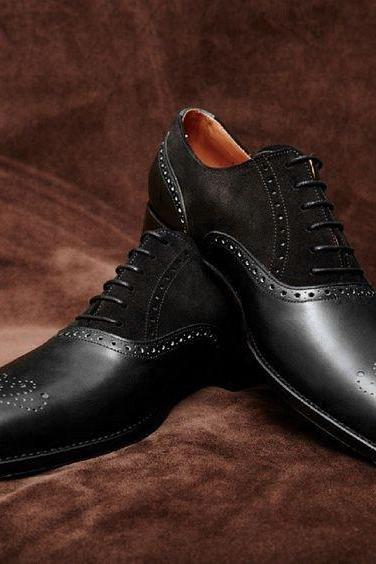 Handmade Black Brogue Leather Shoes Oxford Bespoke Dress Stylish Formal Men