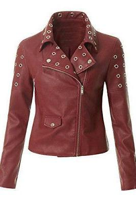 Women's Leather Zip Up Moto Biker Jacket with Pocket Biker Jacket Made to order