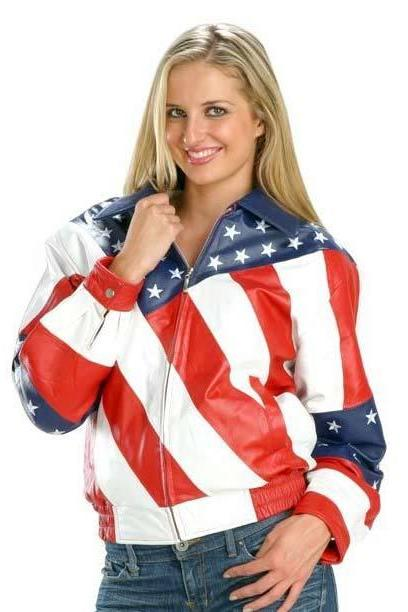 New Handmade Women,s American Flag Leather Jacket