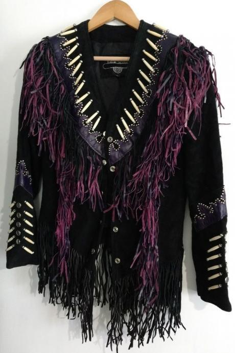 Matchless Purple Western Country Fringed Women's Leather Jacket Coat In All Size