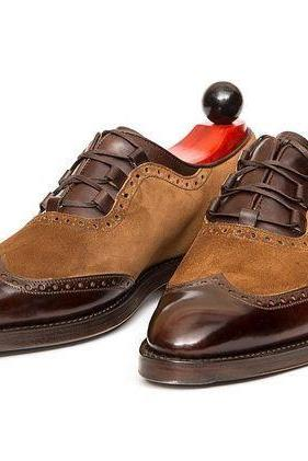 Handmade Men Brown Suede and leather shoes, Men lace up shoes, Men shoes