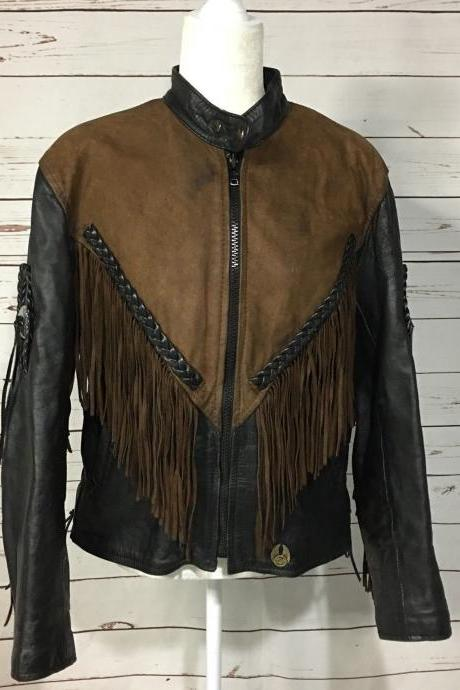 Made to Order Women Cow Leather Fringed Ridding Concho Two Tone Western Jacket