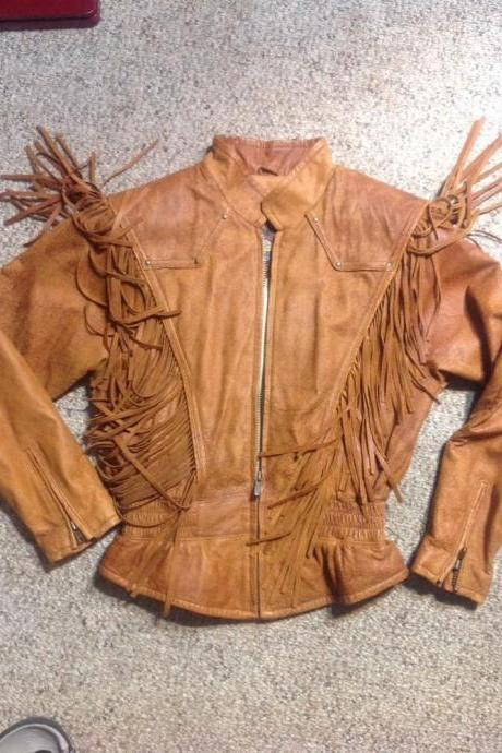 New Women's Cowhide Leather Jacket Distressed Fringed Motorcycle Adventure Bound