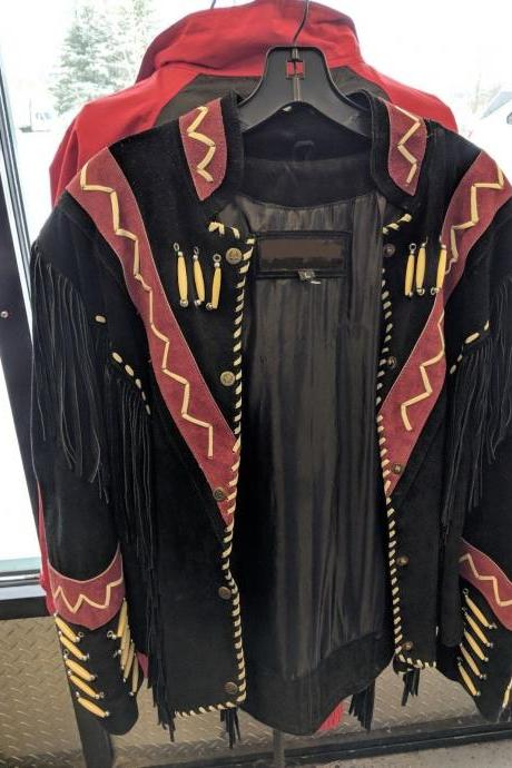 Women's Handmade Western Suede Leather Jacket with Fringes In All Sizes (SALE)