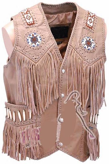 SALE! Men's Western Vest cow Leather with Fringes and Beads of Best Quality