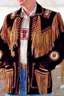 Unique Western Traditional Cowboy Men Suede Leather Jacket With Fringes & Beads