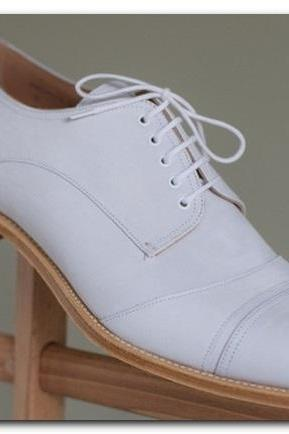 Men,s Handmade Classic Style Real Leather White Formal Shoes, men leather shoes