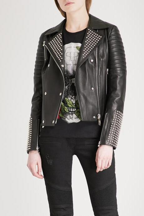 New Women's Black Leather Studded Biker Jacket new stylish Made to order