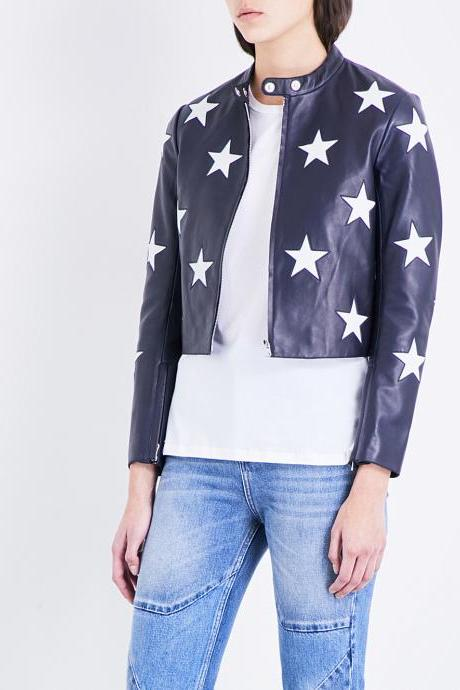New Handmade Women,s Star motif leather jacket