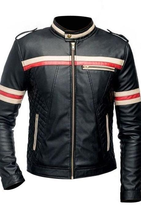 New Handmade Men,s Red And White Striped Black Motorcycle Jacket