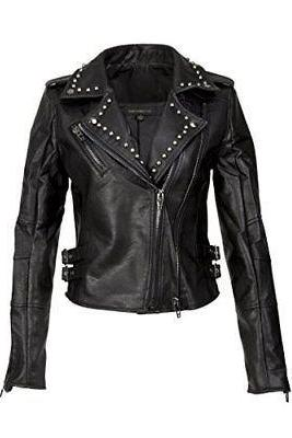 Womens Studded Black Leather Biker Moto Jacket Made to order