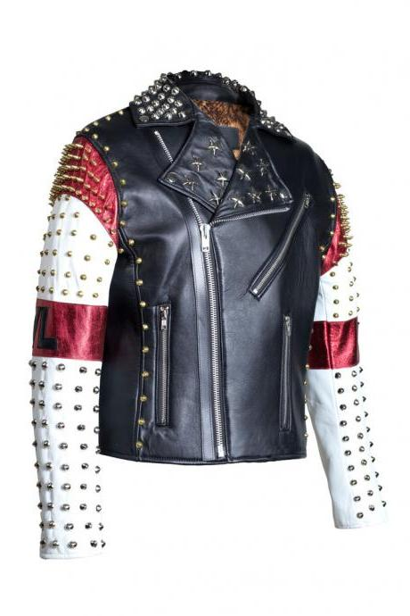 MM Dead Mens Handmade White Black Red Studded Patches Leather Jacket All Size