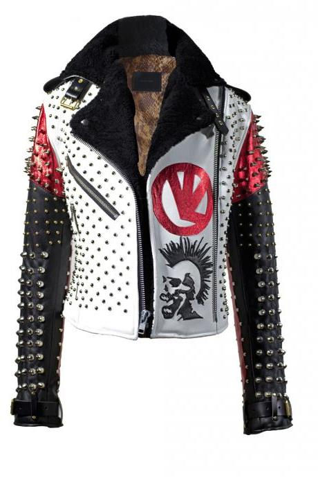 MM Dead Mens Handmade White Black Red Studded Patches Leather Jacket With Fur