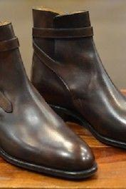 Handmade Men Brown leather Jodhpurs, Men dark brown ankle boots, Men ankle boots