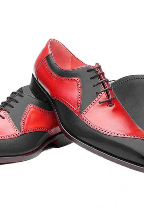 Handmade Formal Mens Shoes, Leather Red Black Office Dress Shoes Wedding Shoes