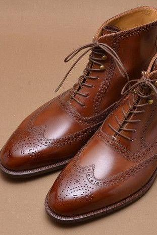 Handmade Men brown Wing tip brogue ankle boots, Men leather boots