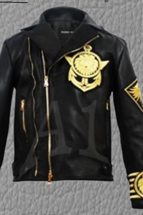 New Men BALMAIN X H&M Black Gold Metal Embroidered Lion Leather Jacket(SALE)