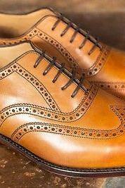 Handmade Mens Tan color Shoes, Men wingtip brogue formal shoes, Men dress shoes