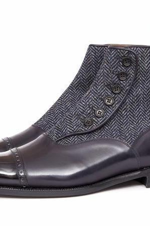 Handmade Black Button Boots, Men Black Formal Boot, Men Two Toned Boot