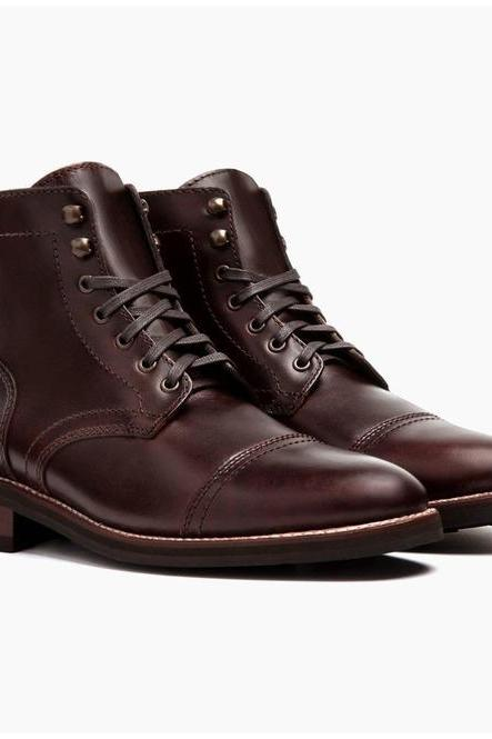 Men's Ankle Leather Boots, Men Brown Leather Boot Men Leather Boots