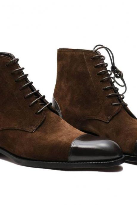 Handmade Brown Ankle High Boots, Cap Toe Men Dress Leather Suede Boots For Men