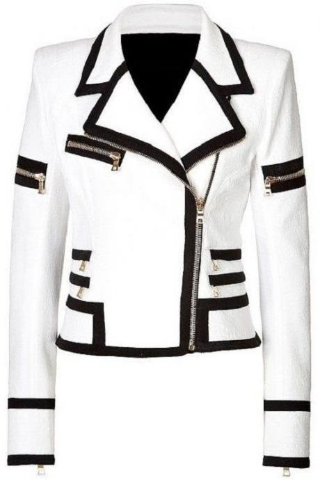 WOMEN'S BIKER LEATHER JACKET, WHITE WOMEN JACKET, WOMEN'S FASHION DRESS