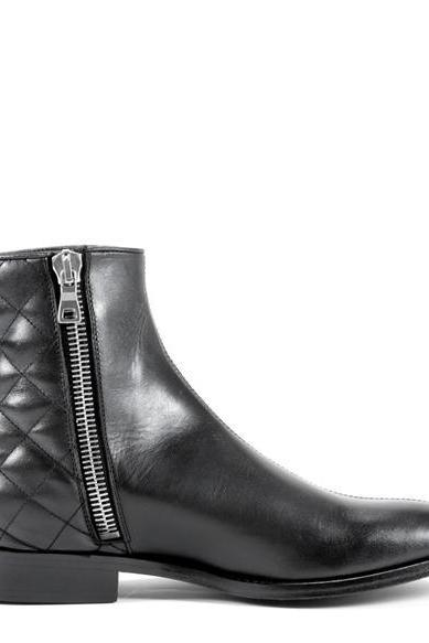 Handmade Men Black Leather ankle boots, Men zipper ankle boots, Men leather boot