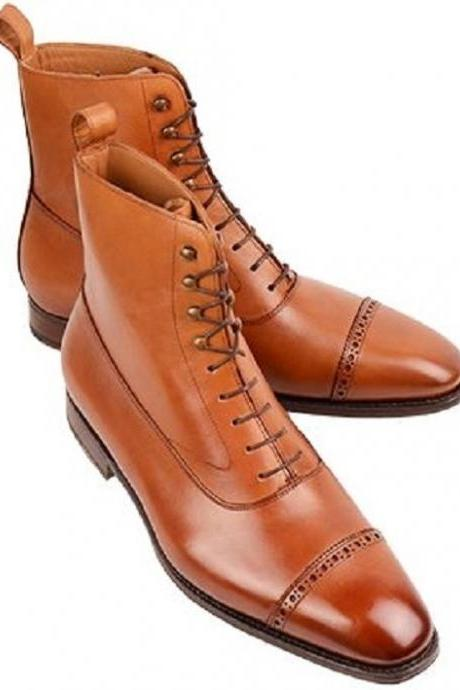 Handmade Men Tan ankle boots, Men tan color lace up ankle boot, Men leather boot