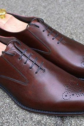 Handmade Oxford Brogue Leather Shoes ,Dress Designer Trendy Tuxedo Brown Shoes