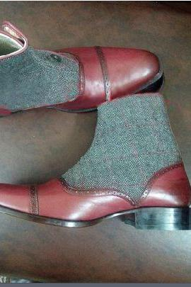 Handmade Men Two Tone Button Boot, Men Burgundy And Gray Ankle Boots, Men Boots